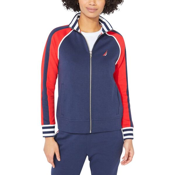 Colourblock Graphic Zip Sweatshirt, Stellar Blue Heather, hi-res