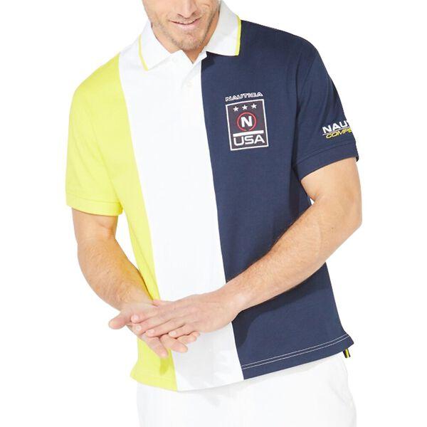 Vertical Colourblock Badge Polo Shirt, Navy, hi-res