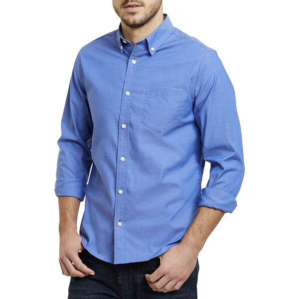 Slim Fit Solid Colour Wrinkle Resistant Shirt, French Blue, hi-res