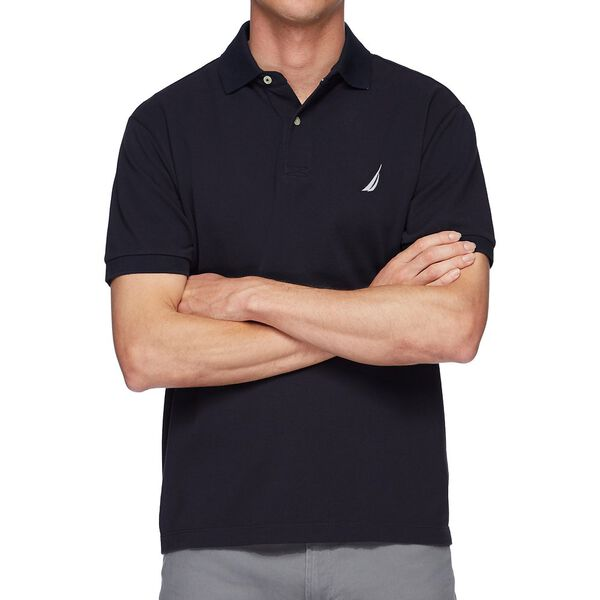 Short Sleeve Solid Polo, Navy, hi-res