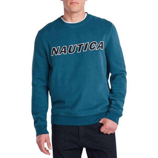 Fleeced Graphic Crew Sweater, Blue Coral, hi-res