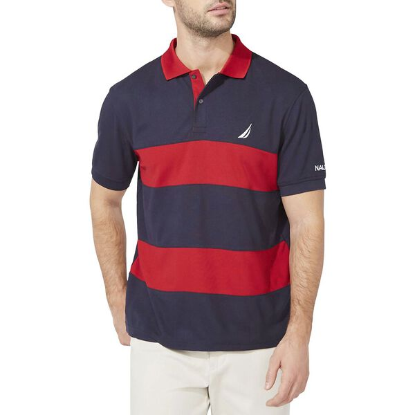 Navtech Classic Fit Rugby Stripe Polo, Navy, hi-res