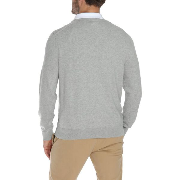 NAVTECH V-NECK SWEATER, GREY HEATHER, hi-res