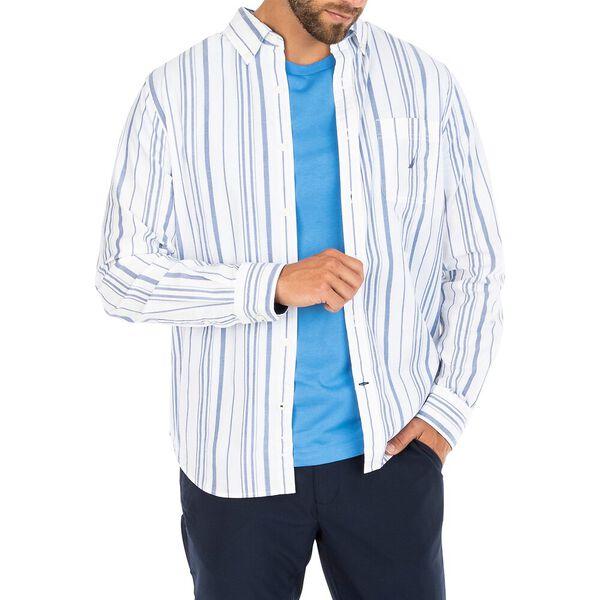 Navtech Dual Pyjama Stripe Shirt, Bright White, hi-res