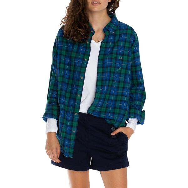 Classic Fit Brushed Cotton Plaid Shirt, Spruce, hi-res