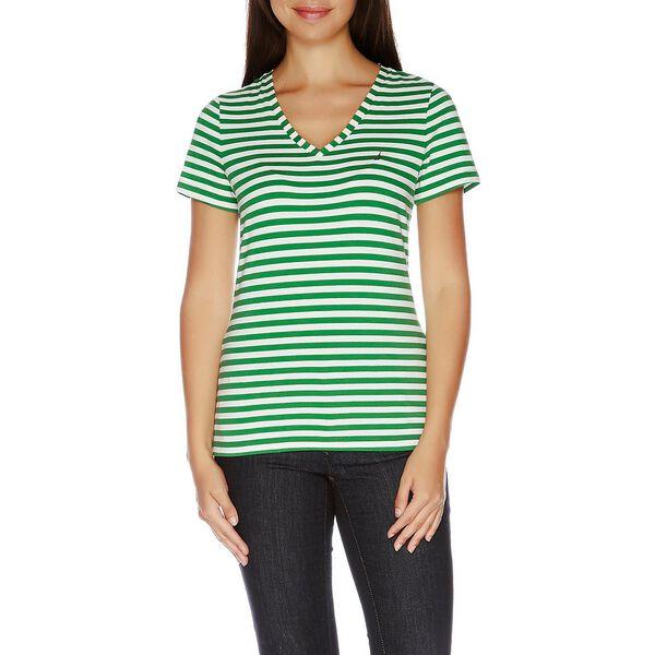 Essential Short Sleeve Stripe V-Neck T-shirt
