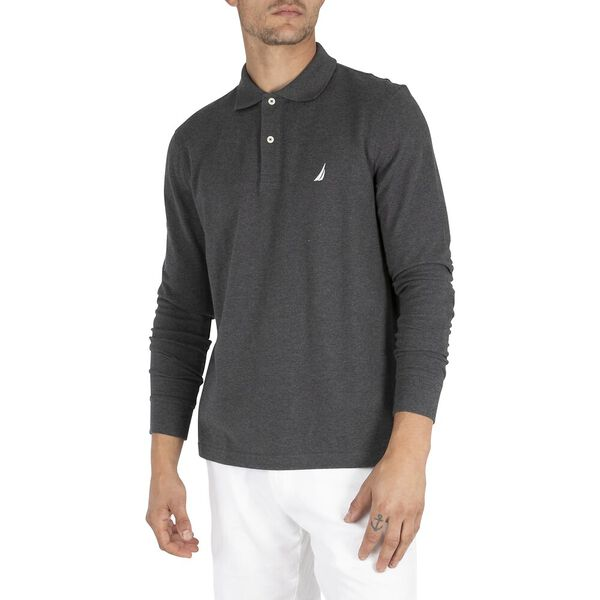 Long Sleeve Deck Polo, Charcoal Heather, hi-res