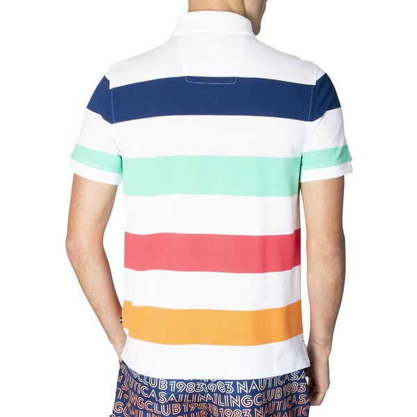 Navtech Summer Pastel Strip Short Sleeve Polo Shirt, Bright White, hi-res
