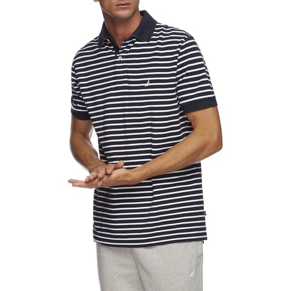 Short Sleeve Anchor Stripe Polo, Navy, hi-res