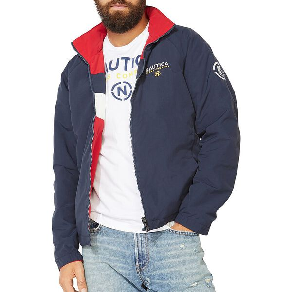 NAUTICA JEANS CO. REVERSIBLE BOMBER JACKET, Nautica Red, hi-res