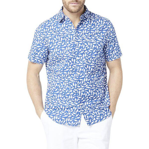 Classic Fit Shark Print Shirt Blue, Windsurf Blue, hi-res