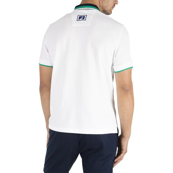 Sustainably Crafted Navtech Tipped Polo, Bright White, hi-res
