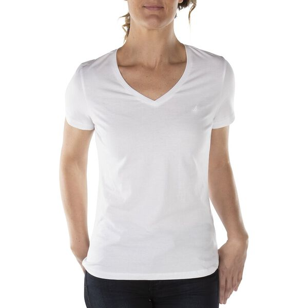 Cotton Solid V-Neck Tee, Bright White, hi-res