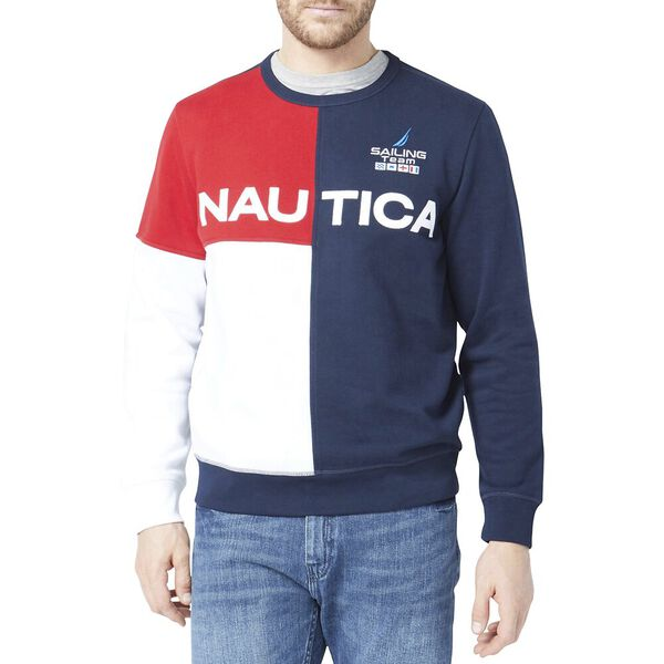 Blocked Logo Crew Sweater, Navy, hi-res