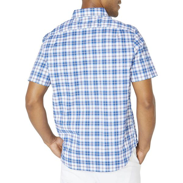Classic Fit Casual Plaid Short Sleeve Shirt, Clear Skies Blue, hi-res