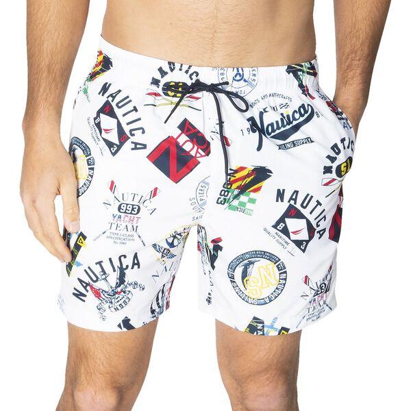Navigate To Shore Elasticated Waist Swim Shorts, Bright White, hi-res