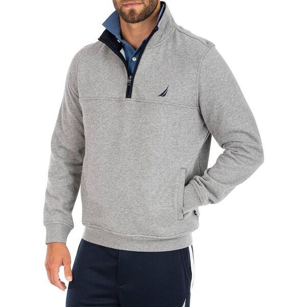 Contrast Collar Quarter Zip Fleece Jumper, Grey Heather, hi-res