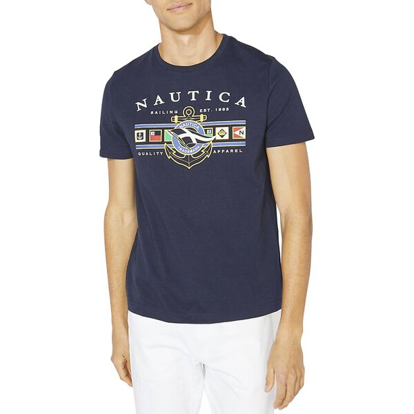 Flags And Anchor Graphic Tee, Navy, hi-res