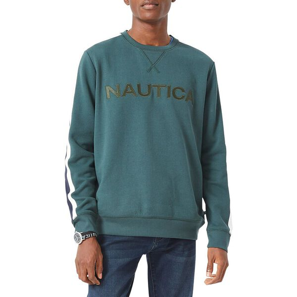Vintage Fit Nautica Logo Crew Neck Sweater, Bayou Green, hi-res