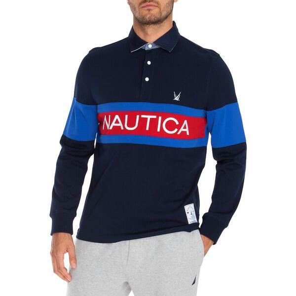 Nautica Logo Rugby Shirt, Navy, hi-res