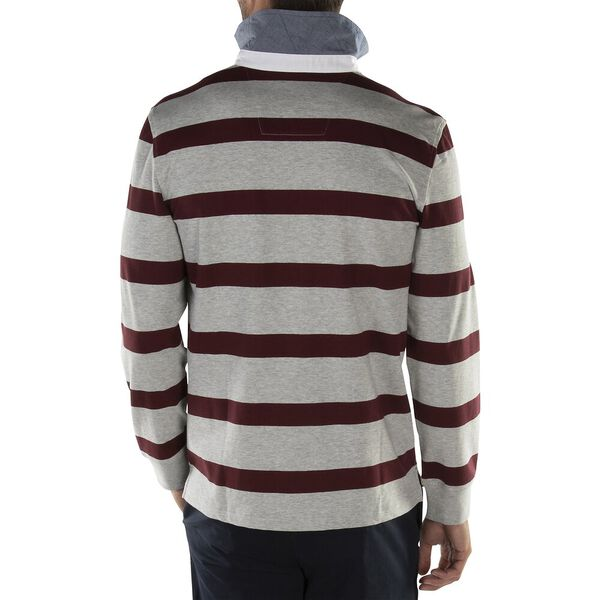 Nautica Essential Stripe Long Sleeve Rugby Polo, Grey Heather, hi-res