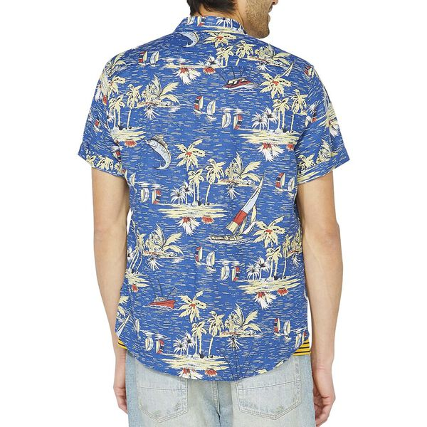 Sail By The Tropics Short Sleeve Linen Shirt, Limoges, hi-res