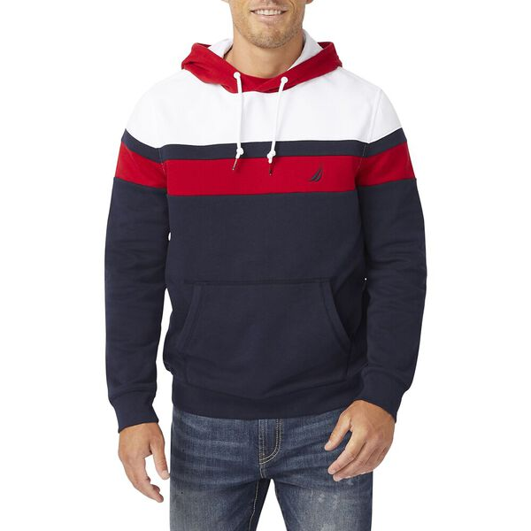 Slim Fit Colourblock Pullover Hoodie, Navy, hi-res