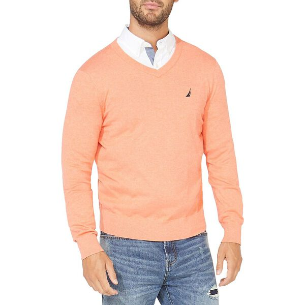 Navtech V-neck Jersey Sweater, Living Coral Heater, hi-res