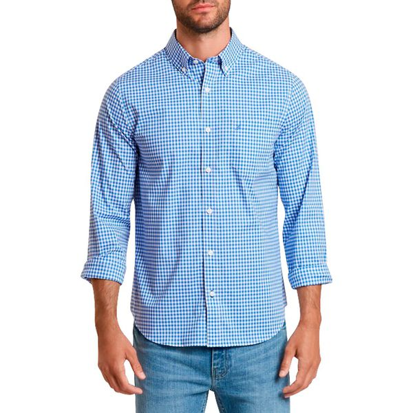 Wrinkle Resistant Slim Fit Shirt In Plaid, French Blue, hi-res