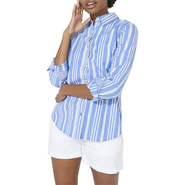 Paradise Stripe Pleat Back Shirt, Spinner Blue, hi-res