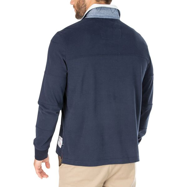 Nautica Jeans Co. Stripe-Stitched Long Sleeve Rugby Polo, Navy, hi-res