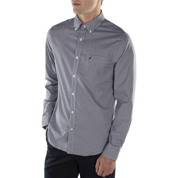 Slim Fit Wrinkle Resistant Micro Gingham Long Sleeve Shirt, Just Navy, hi-res