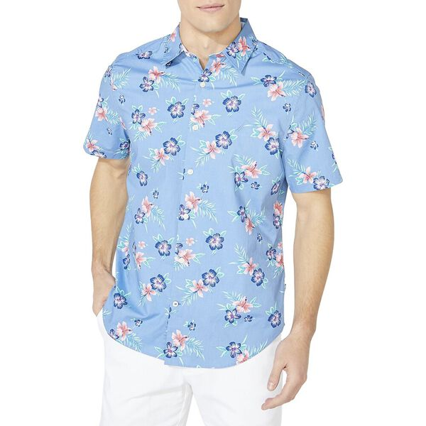 Classic Fit Resort Wear Short Sleeve Shirt, Lake Blue, hi-res