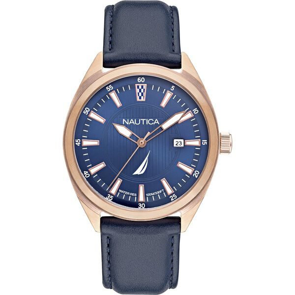 Battery Park Leather Strap Watch Rose Gold