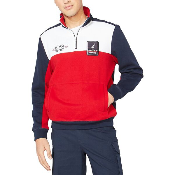 Nautica Sailing Team Quarter Zip Sweatshirt, Navy, hi-res