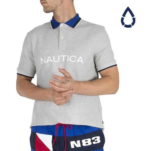 Sustainably Crafted Navtech Tipped Polo, Grey Heather, hi-res