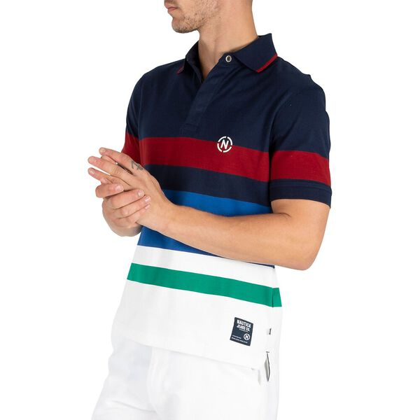 Nautica Jean Co. Stripe Rugby Polo, Navy, hi-res