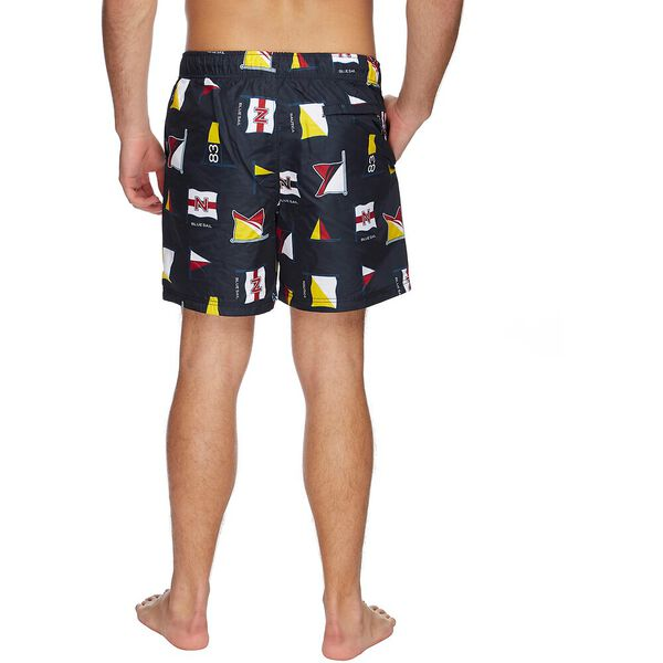 QUICK DRY BLUE SAIL FLAG PRINTED SWIM SHORTS, NAVY, hi-res