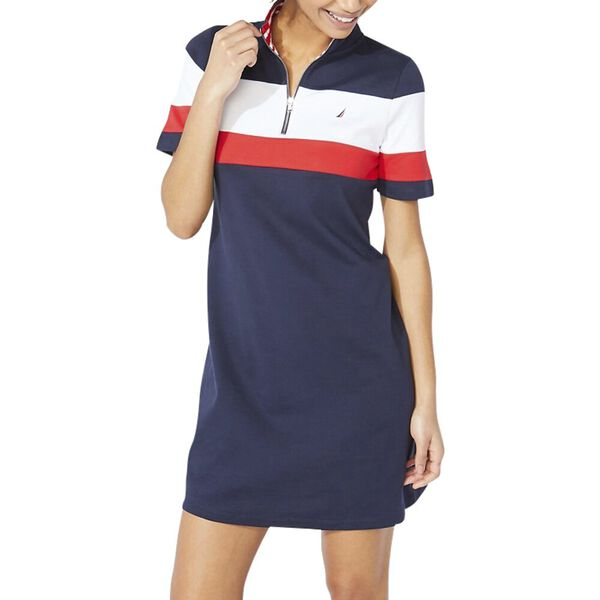 Claire Colourblock Zip Polo Dress, Navy Seas, hi-res