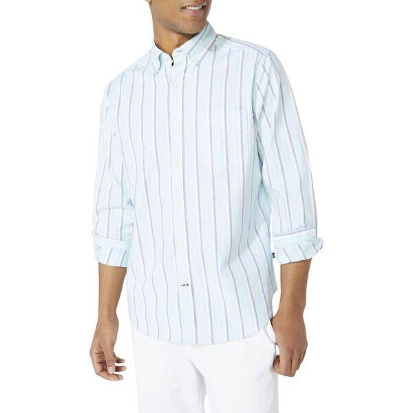 Classic Fit Oxford Stripe Long Sleeve Shirt, Aqua Splash, hi-res