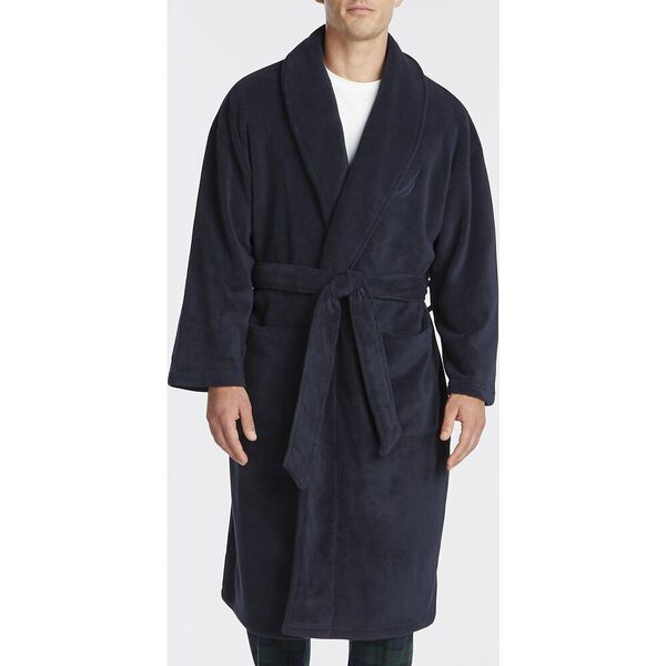 PLUSH ROBE, NAVY, hi-res