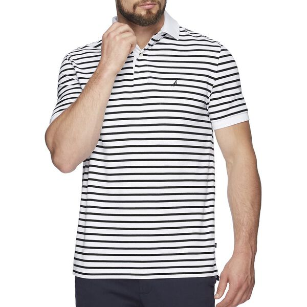 SHORT SLEEVE ANCHOR STRIPE POLO, BRIGHT WHITE, hi-res
