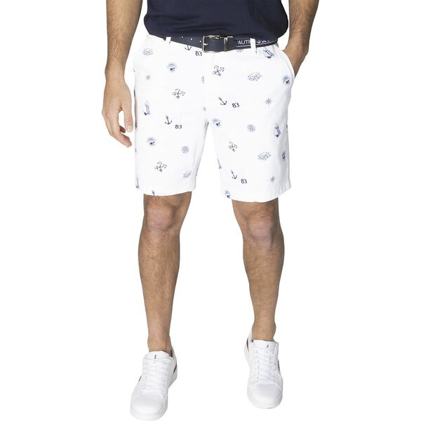 Navigate Party Print Flat Front Shorts, Bright White, hi-res