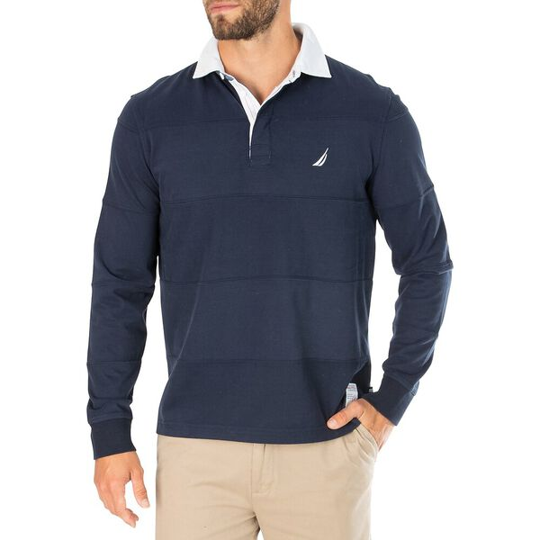 Nautica Jeans Co. Stripe-Stiched Long Sleeve Rugby Polo