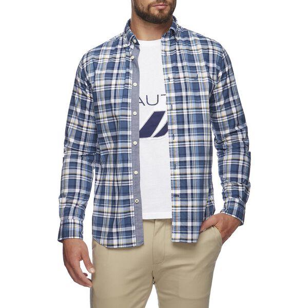 Mixed Layer Plaid Long Sleeve  Shirt, Ensign Blue, hi-res