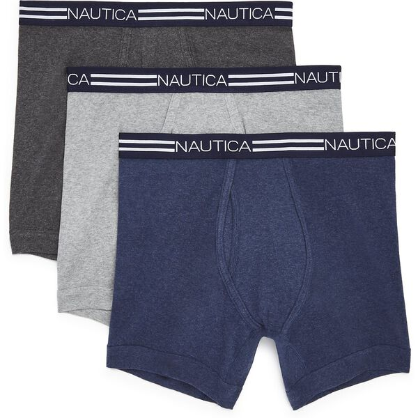 Nautica Mens 3 Pack Cotton Boxer Brief, Multi, hi-res