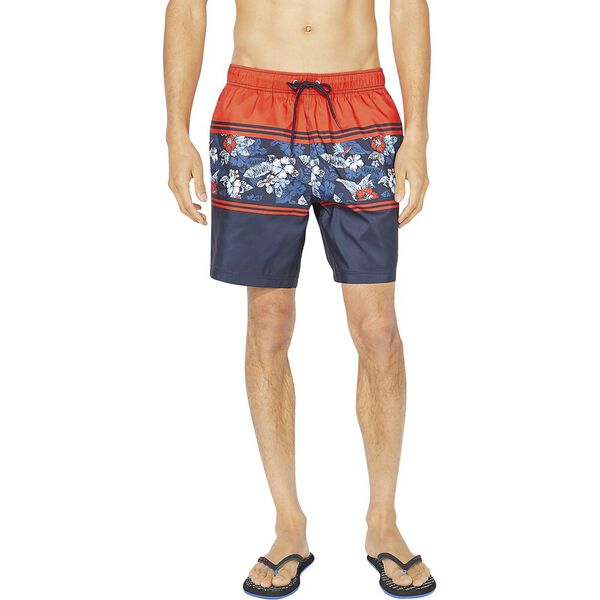 """8"""" Blue Sail Engineered Floral Stripe Swims, Firey Red, hi-res"""