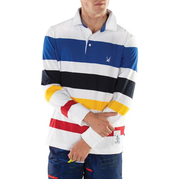Iconic 90's Striped Rugby Shirt, Bright White, hi-res
