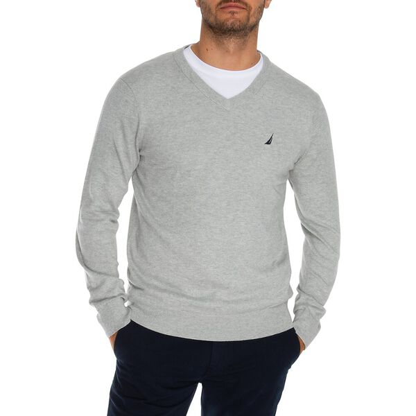 Jersey Navtech V-Neck Sweater, Grey Heather, hi-res