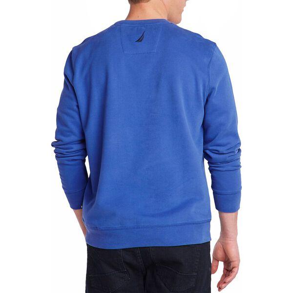 Fleeced Graphic Crew Sweater, Windsurf Blue, hi-res